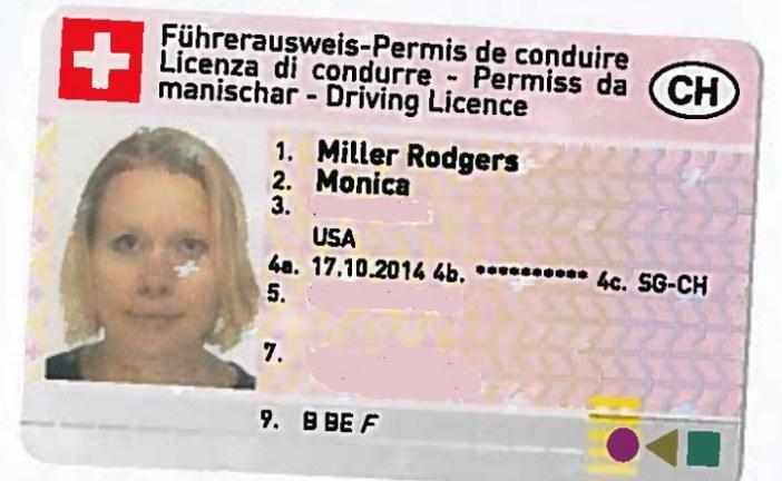 گواهینامه رانندگی در سوییس